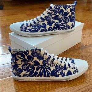 NEW Prada Hi Top Blue and White Floral Sneakers